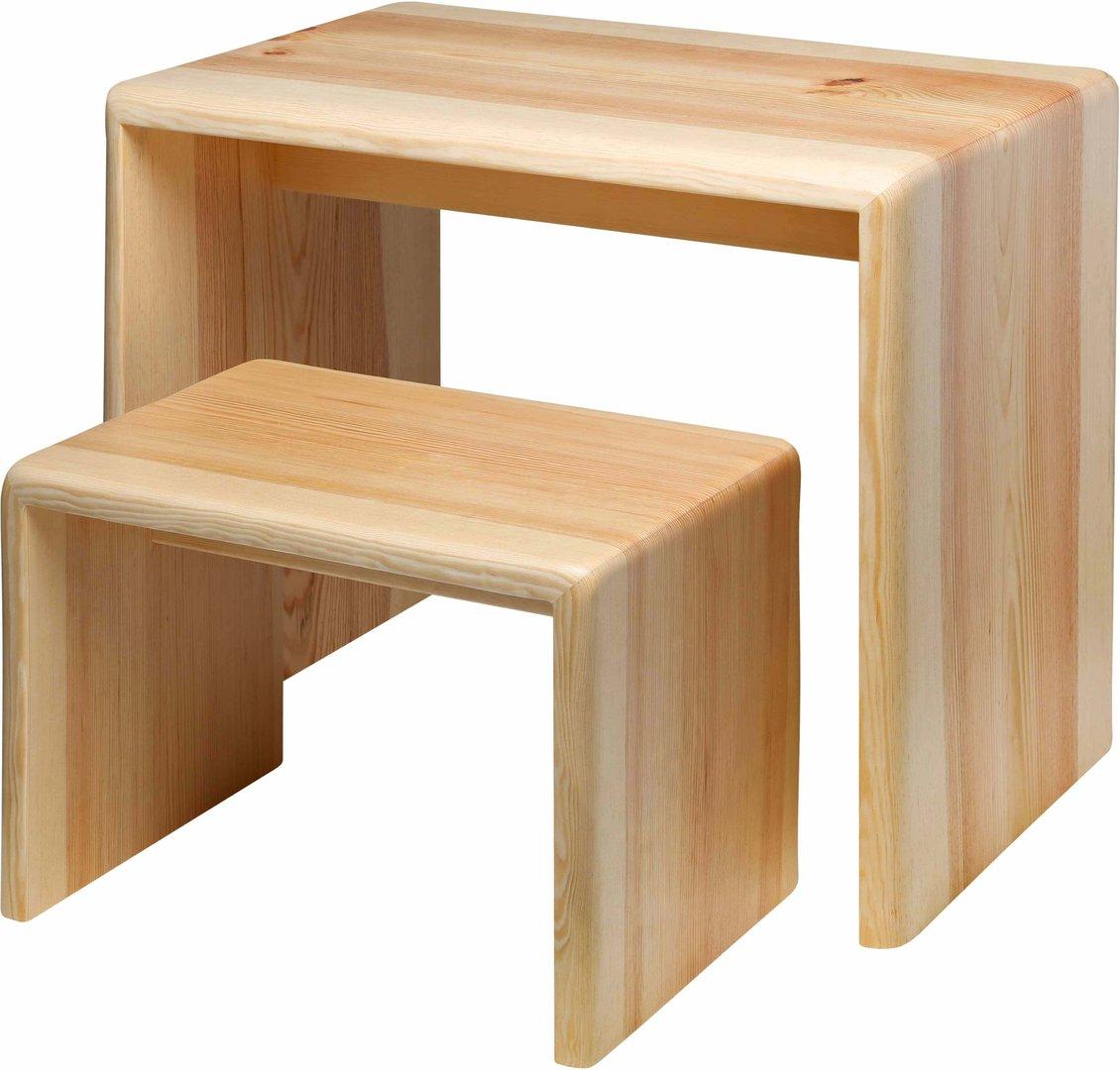 set aus kindertisch mit schemel. Black Bedroom Furniture Sets. Home Design Ideas